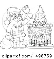 Christmas Santa Claus Ringing A Bell By A Fireplace