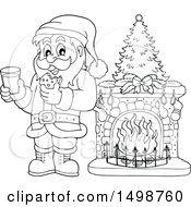 Clipart Of A Black And White Christmas Santa Claus Enjoying A Snack Of Milk And Cookies Royalty Free Vector Illustration