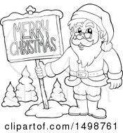 Clipart Of A Black And White Christmas Santa Claus With A Sign Royalty Free Vector Illustration