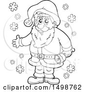 Poster, Art Print Of Black And White Christmas Santa Claus With A Bell