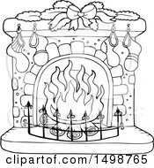 Clipart Of A Black And White Fireplace With Christmas Stockings Royalty Free Vector Illustration by visekart