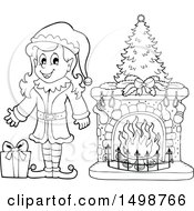 Clipart Of A Black And White Female Christmas Elf By A Fireplace Royalty Free Vector Illustration by visekart