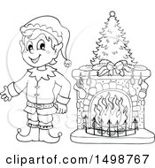 Clipart Of A Black And White Male Christmas Elf By A Fireplace Royalty Free Vector Illustration by visekart