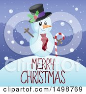 Merry Christmas Greeting Under A Snowman