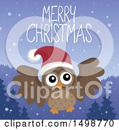 Clipart Of A Merry Christmas Greeting With An Owl Wearing A Santa Hat Royalty Free Vector Illustration