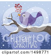 Merry Christmas Greeting Under A Purple Bird