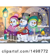 Clipart Of A Group Of Snowmen Singing Christmas Carols On A Sidewalk Royalty Free Vector Illustration