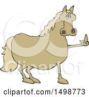 Clipart Of A Mad Chubby Horse Holding Up A Middle Finger Royalty Free Vector Illustration