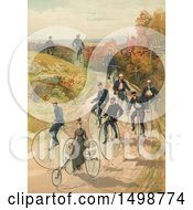 Clipart Of A Lady On A Three Wheel Bicycle And Men Riding Penny Farthing High Wheelers On A Path C1887 Royalty Free Illustration