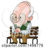 Clipart Of A Senior Man Sitting On A Bench Royalty Free Vector Illustration