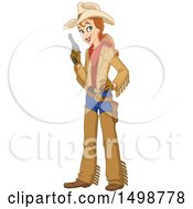 Clipart Of A Happy Western Cowgirl Holding A Pistol Royalty Free Vector Illustration by yayayoyo