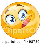 Clipart Of A Cartoon Emoji Yellow Smiley Licking His Lips Royalty Free Vector Illustration