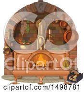 Clipart Of An Antique Kitchen Wood Stove Royalty Free Vector Illustration