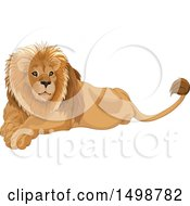 Clipart Of A Handsome Resting Male Lion Royalty Free Vector Illustration by Pushkin