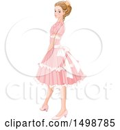 Clipart Of A Princess In A Pink Dress Royalty Free Vector Illustration