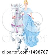 Blond Princess In A Blud Dress Riding A White Horse