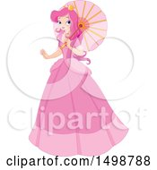Clipart Of A Pink Haird Princess Holding A Parasol Royalty Free Vector Illustration