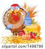 Clipart Of A Happy Thanksgiving Turkey Bird Giving A Thumb Up By Harvest Produce Royalty Free Vector Illustration by Pushkin