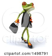 Clipart Of A 3d Green Female Springer Frog In A Black Dress On A White Background Royalty Free Illustration