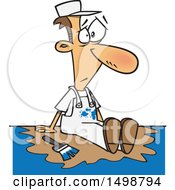 Clipart Of A Cartoon Caucasian Male Painter Sitting In A Puddle Of Paint Royalty Free Vector Illustration