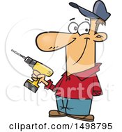 Clipart Of A Cartoon Caucasian Handyman Holding A Cordless Drill Royalty Free Vector Illustration