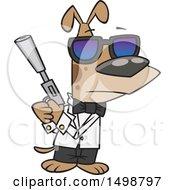 Poster, Art Print Of Cartoon Secret Agent Dog Holding A Gun With A Silencer
