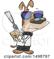 Clipart Of A Cartoon Secret Agent Dog Holding A Gun With A Silencer Royalty Free Vector Illustration