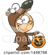 Poster, Art Print Of Cartoon Caucasian Boy In A Bear Halloween Costume Holding Out A Trick Or Treat Pumpkin Bucket