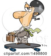 Clipart Of A Cartoon Caucasian Business Man On A Longboard Royalty Free Vector Illustration