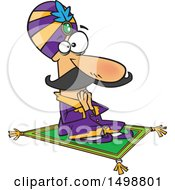 Clipart Of A Cartoon Indian Maharaja On A Carpet Royalty Free Vector Illustration