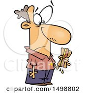 Clipart Of A Cartoon Caucasian Man Holding A Messy Hot Dog And Getting Mustard On His Shirt Royalty Free Vector Illustration