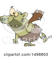 Cartoon Nasty Ogre Walking With A Club Over His Shoulder
