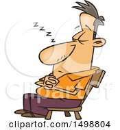 Poster, Art Print Of Cartoon Caucasian Man Nodding Off In A Chair