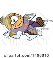 Cartoon Happy Caucasian Boy Making A Snow Angel