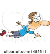 Clipart Of A Cartoon Caucasian Dad Tripping Over A Toy Car Royalty Free Vector Illustration