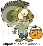 Clipart Of A Cartoon Zombie Boy In A Bear Halloween Costume Holding Out A Trick Or Treat Pumpkin Bucket Royalty Free Vector Illustration
