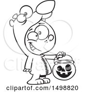 Clipart Of A Cartoon Lineart Boy In A Bear Halloween Costume Holding Out A Trick Or Treat Pumpkin Bucket Royalty Free Vector Illustration