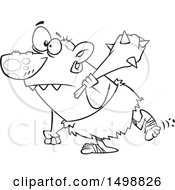 Poster, Art Print Of Cartoon Outline Nasty Ogre Walking With A Club Over His Shoulder