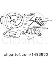 Poster, Art Print Of Cartoon Outline Happy Boy Making A Snow Angel