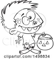 Clipart Of A Cartoon Lineart Zombie Boy In A Bear Halloween Costume Holding Out A Trick Or Treat Pumpkin Bucket Royalty Free Vector Illustration