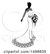 Clipart Of A Silhouetted Black And White Bride With Flowers Royalty Free Vector Illustration by AtStockIllustration