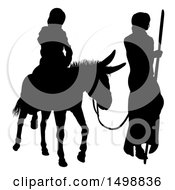 Black Silhouetted Virgin Mary On A Donkey And Joseph