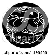 Zodiac Horoscope Astrology Pisces Fish Circle Design In Black And White