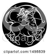 Clipart Of A Zodiac Horoscope Astrology Centaur Sagittarius Circle Design In Black And White Royalty Free Vector Illustration by AtStockIllustration