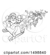Black And White Scene Of Reindeer Flying Santa In A Sleigh