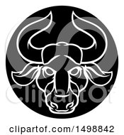 Clipart Of A Zodiac Horoscope Astrology Taurus Bull Circle Design In Black And White Royalty Free Vector Illustration
