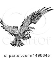 Clipart Of A Black And White Swooping Eagle Royalty Free Vector Illustration