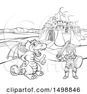 Clipart Of A Black And White Knight And Dragon By A Castle Royalty Free Vector Illustration