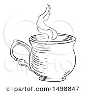 Poster, Art Print Of Black And White Vintage Engraved Cup Of Hot Tea Or Coffee