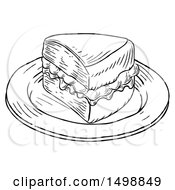 Clipart Of A Piece Of Victoria Sponge Cake Black And White Engraved Style Royalty Free Vector Illustration